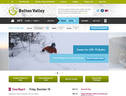 Bolton Valley homepage